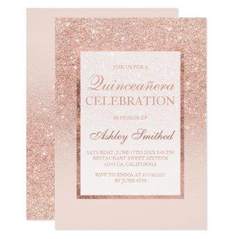 Faux rose gold glitter elegant chic Quinceañera Invitation