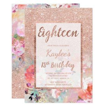 Faux rose gold glitter floral 18th Birthday