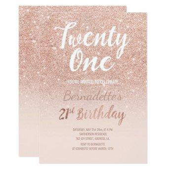 Faux rose gold glitter ombre 21st Birthday Invitation