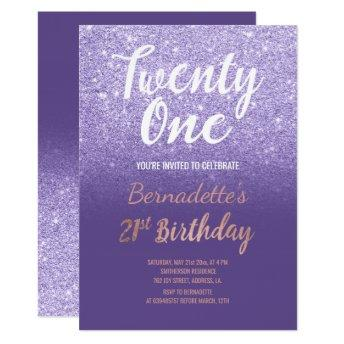 Faux rose gold glitter ombre 21st Birthday purple