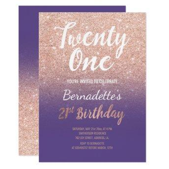Faux rose gold glitter ombre 21st Birthday purple Invitation