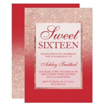 Faux rose gold glitter red chic Sweet 16 Invitation