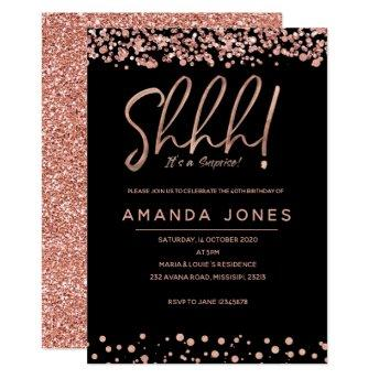 FAUX ROSE GOLD Surprise Birthday Party Invitation