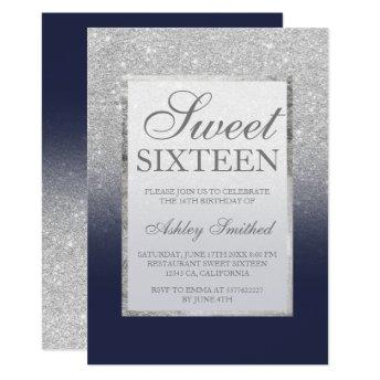 Faux silver glitter navy blue legant chic Sweet 16 Invitation