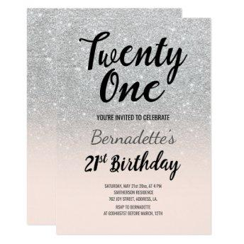 Faux silver glitter ombre 21st Birthday Invitation