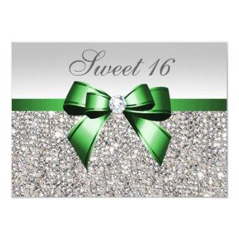 Faux Silver Sequins Emerald Bow Diamond Sweet 16 Invitation