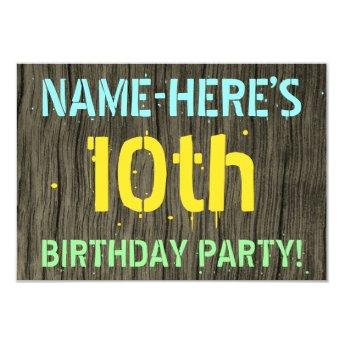 Faux Wood, Painted Text Look, 10th Birthday + Name