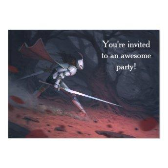 Fearless Knights' birthday party Invitation