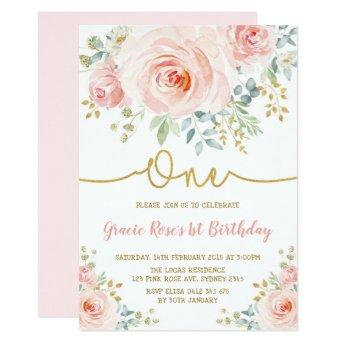 Feminine Blush Floral Rose Girl 1st Birthday Party Invitation