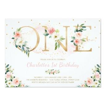Feminine Floral 1st Birthday Blush Pink Flowers Invitation