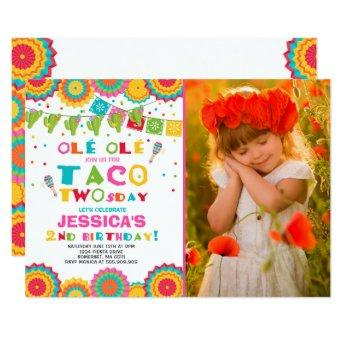 Fiesta 2nd Birthday Invitation Taco Twosday Party