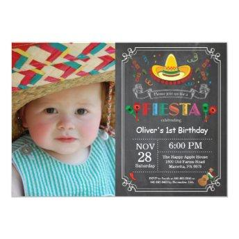 Fiesta Birthday Invitation Chalkboard Mexican