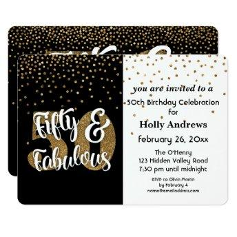 Fifty & Fabulous Gold Faux Glitter  Party