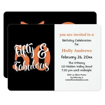 Fifty & Fabulous Orange Typography Birthday Party Invitation
