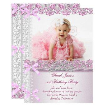 First 1st Birthday Party Girls Princess Pink Photo