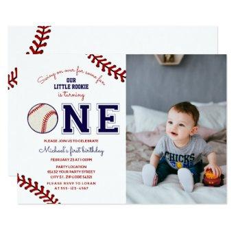 First Birthday Baseball Photo Invitation