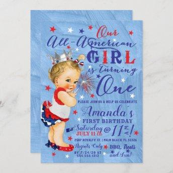 First Birthday Fourth Of July Red White Blue Invitation