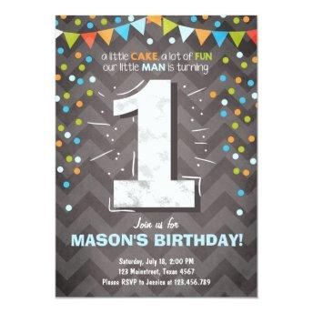 First Birthday  boy One Chalk Green blue