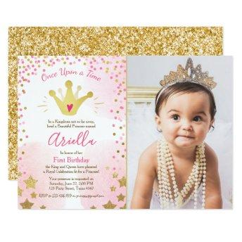 First birthday invitation Princess Gold Pink Crown
