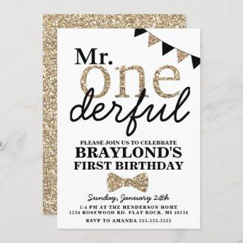 First Birthday Mr Onederful Invitation