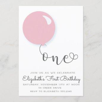 First Birthday Pink Balloon Invitation