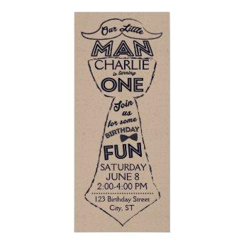 First Birthday Tie/Mustache Invitation