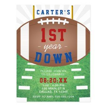 First Year Down Football Theme 1st Birthday PostInvitation