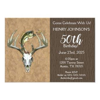 Fishing and Hunting Themed 50th Birthday Invitation