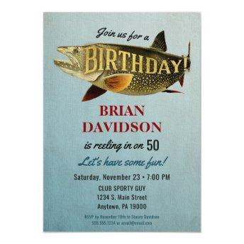 Fishing Mens Birthday Party Invitation Fisherman