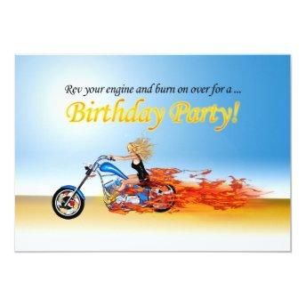 Flaming motorcycle party invitation
