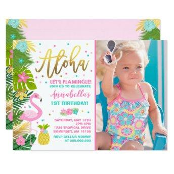 Flamingo Birthday Invitation Topical Luau Party