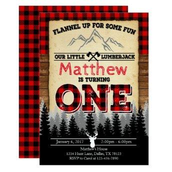 Flannel Lumberjack Birthday Party Invitation