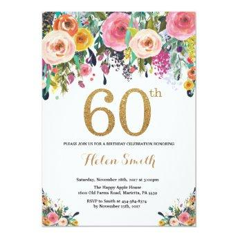 Floral 60th Birthday Invitation Gold Glitter