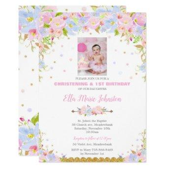 Floral Baptism and 1st Birthday Party Invitation