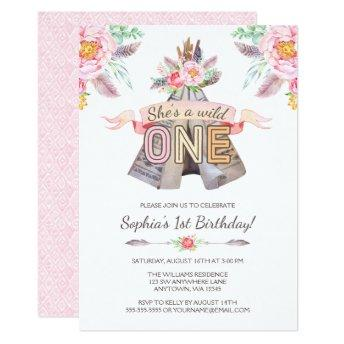 Floral Boho Tribal Teepee Wild One 1st Birthday Invitation