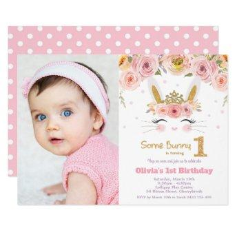 Floral Cute Bunny Rabbit 1st Birthday Photo Invitation