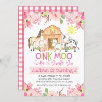 Floral Farm Animals Birthday Invitation