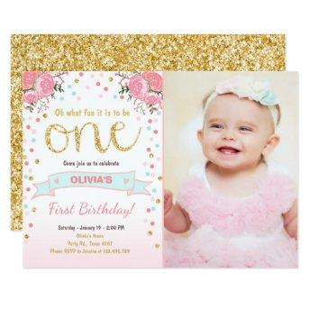 Floral First birthday invite Girl Pink Gold Roses