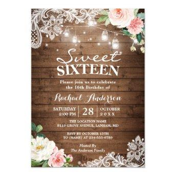 Floral Lace Mason Jar Lights Sweet 16 Birthday Invitation