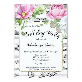 Floral Music Birthday Invitation Pink White