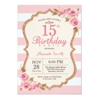 Floral Pink Peonies 15th Birthday Party Invitation