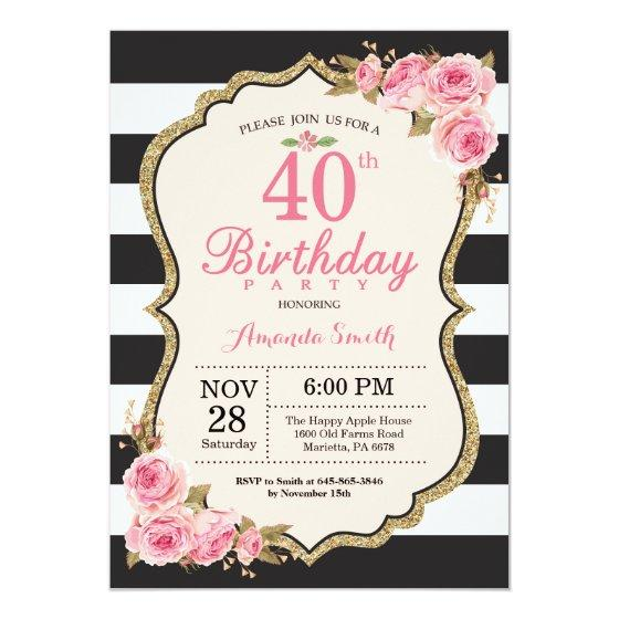 Floral Pink Peonies 40th Birthday Party Invitation