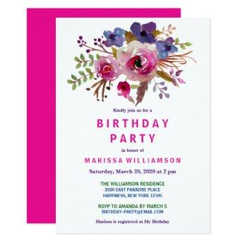 Floral Pink Watercolor Birthday Party