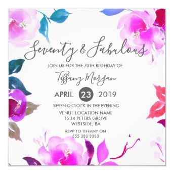 Floral Seventy & Fabulous 70th Birthday Party Invitation