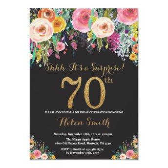 Floral Surprise 70th Birthday Invitation Gold