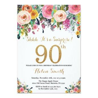 Floral Surprise 90th Birthday Invitation Gold