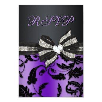 Floral Swirl RSVP With Jeweled Bow