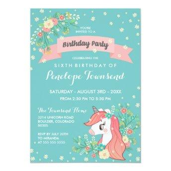 Floral Unicorn Turquoise Birthday Party