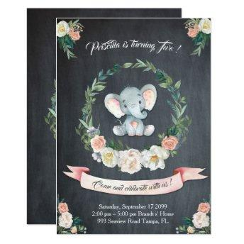 Floral watercolor Elephant Invitation, Baby 2nd Invitation