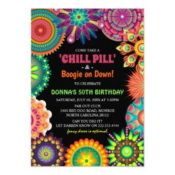 Flower Power 70's Colorful Birthday Party Invitation